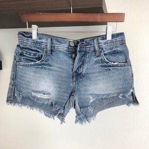Free People distressed button fly shorts